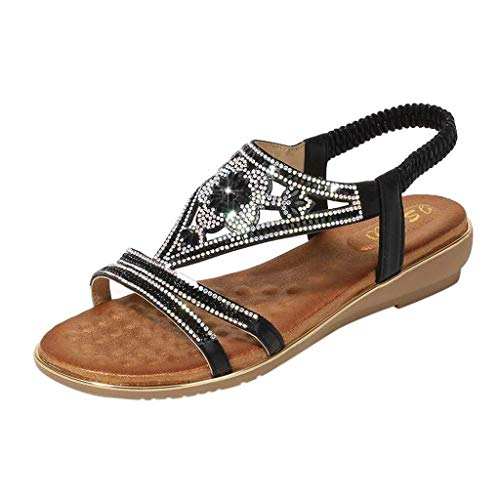 Frauen Open Toe Sandalen Bling Kristall Flache Sandalen Teen Girls Atmungsaktive Schuhe Party Princess Sandalen (Color : Schwarz, Size : 36 EU) Sandal Shop-frauen Wedges