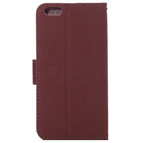 """wortek Flip Case Apple iPhone 6 (4,7"""") Tasche Etui Magnetverschluss Standfunktion & Fächer für Karten Rot Braun Rot"""