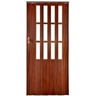 Falttür Schiebetür mahagoni farben mit Schloß und Fenster Höhe 203 cm Einbaubreite bis 101 cm Doppelwandprofil abschließbar