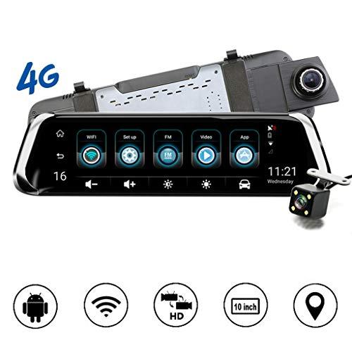 Big Free Tech 10 Zoll Dash Cam GPS Navigator,Full HD 1080P Auto DVR-Stream Rückspiegel Dash Cam Kamera Doppelobjektiv Aufnahme Auto-Recorder