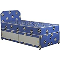 Blue Single Football Divan Bed Set With Matching Headboard And Slider Storage (3x6'3)