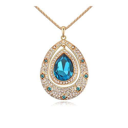 ZUXIANWANG Lady's Crystal Pullover Kette Crystal Schlüsselbein Kette Wien Tränen Kette Schmuck, Farbe Blau Champagner Gold 6-254 -