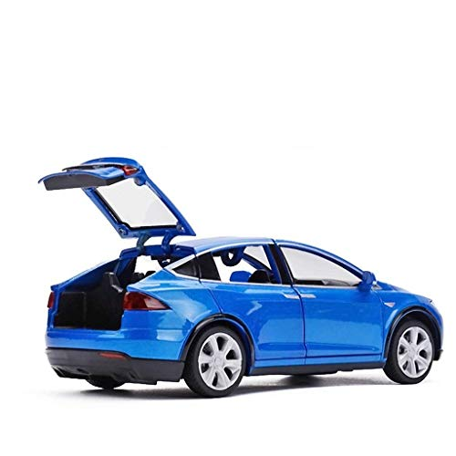 Modellauto 1:32 Tesla Kinder Simulation Auto SUV Spielzeugauto Simulation Legierung Automodell Metall Spielzeugauto Erwachsene Sammlung Ornamente (Farbe: Blau)