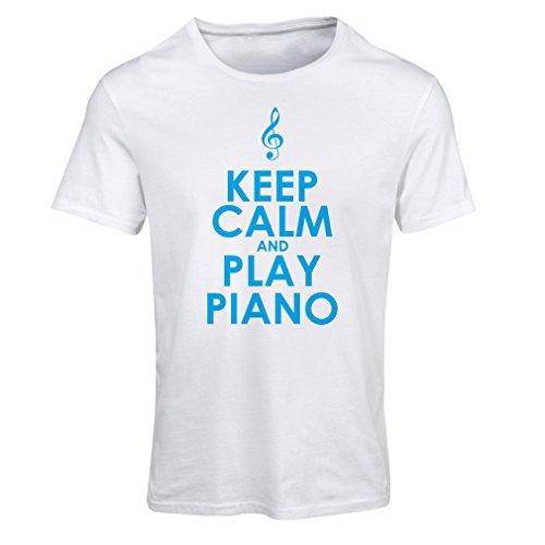 Maglietta Donna Ascolta pianoforte - citazioni di musicisti Bianco Blu
