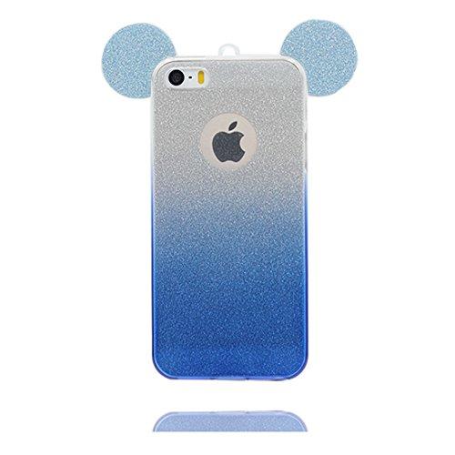 iPhone 5s Custodia, [ TPU Gel trasparente del Diamanti di Bling Bling sottile e leggero ] Copertura iPhone 5 SE 5G Case, Shock Proof [ porpora Cartoon orecchio del mouse] e ring supporto # # 1