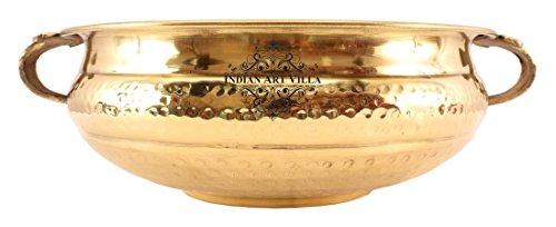 Indianartvilla 35,6cm inch Brass Urli Water pot contenitore | per casa ufficio ristorante |decorative articolo da regalo