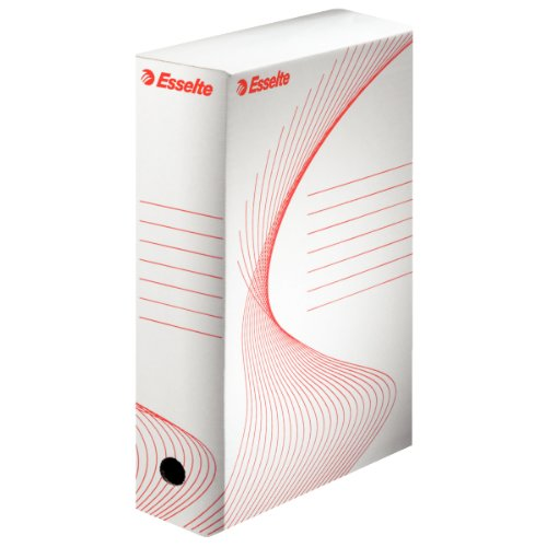 Esselte scatola archivio per documenti a lungo termine, a4, confezione da 10, priva di acidi, dorso da 100 mm, bianco, boxy 100, 20172