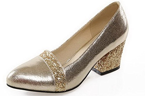 Senhoras Bombas De Allhqfashion Toe Salto Ouro Rodada Sapatos Puxar Misturada Médio De Cor rPrSqFxfaw