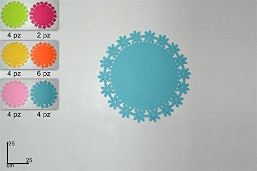 3 pz centrino colori assortiti feltro tondo cm 25 decorazioni pasqua vetrine sottopiatto