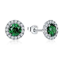 Idea Regalo - JO WISDOM orecchini smeraldo sintetico verde argento 925 donna con AAA Zirconia cubica