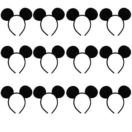 Amycute 12 pcs Diademas de Raton Orejas de Mickey Mouse Disfraces Somb