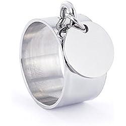 Bague femme médaille charm's – Emotional - Médaille Ronde 12mm en acier personnalisée pour tous types d'événements (Neutre, 56)