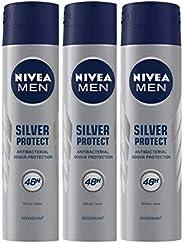 NIVEA MEN Deodorant, Silver Protect Antibacterial, 150ml & NIVEA Deodorant, Fresh Flower, 150ml C