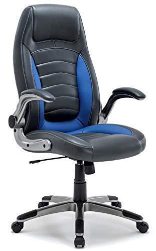 Bürostuhl, Ergonomischer Schreibtischstuhl, Bürodrehstuhl mit Hoher Rückenlehne und gepolsterten Armlehnen, 360°verstellbarer Chefsessel, Höhenverstellung und Wippfunktion für Büroarbeit (Blau) - Nicht Gepolstert Bürostühle