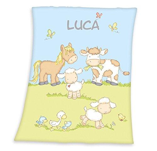 Wolimbo Flausch Babydecke mit Ihrem Wunsch-Namen und Bauernhof Motiv - personalisierte/individuelle Geschenke für Babys und Kinder zur Geburt, Taufe und Geburtstag - 75x100 cm für Mädchen und Jungen