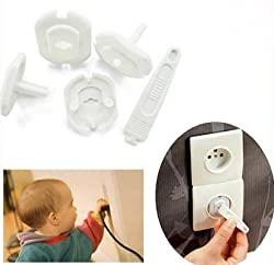 Set of 6 Electrical Socket Covers for Safety of your Baby - Blocks the Socket so that the Baby Cannot Insert Fingers or Objects