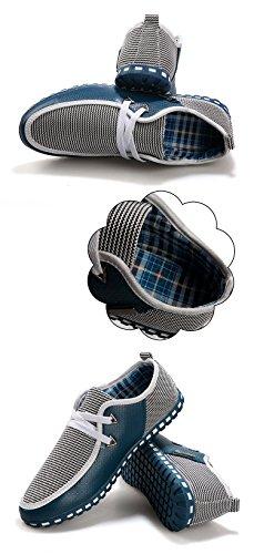 SODIAL(R) Maenner Segeltuch intelligente beilaeufige Spitze Schuhe auf gesponnenem Fahren - Weiss + Grau 39 dunkelgruen + grau