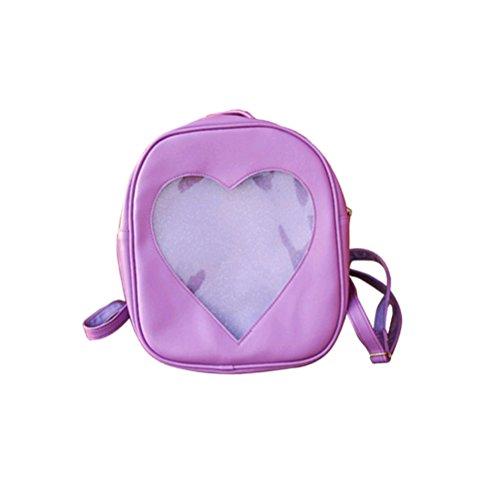 LUOEM Transparent Rucksack mit Herz PU-Leder Süße Mädchen Schulrucksack (Lila)