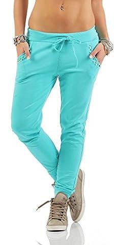 Mr. Shine® – Damen Sweat Hose Mit Taschen Nieten, Jogginghose Stoffhose Sommermode Große Größen S, M, L, XL, XXL, XXXL (XXL, (Damen Cargo-stil Jeans)