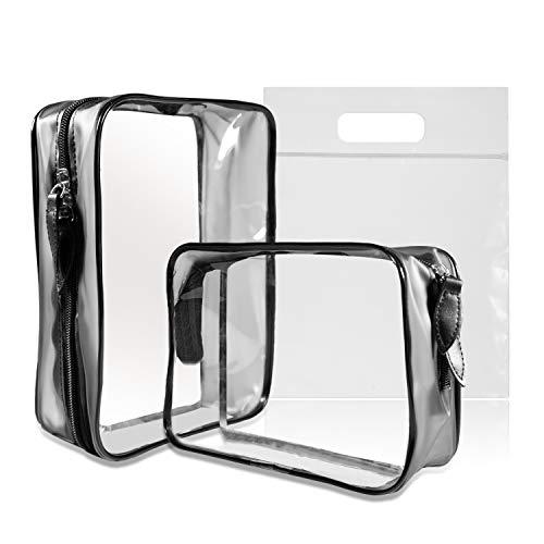 MOCOCITO 2PC Borsa da Toilette Viaggio Trasparente Approvata Secondo le Regolamentazioni UE e UK sul Bagaglio a Mano | Borsetta da Trucco Trasparente con Zip (20x20cm)| Organizer in Plastica PVC