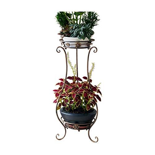 Standständer mit Blumenständer, Europäischer Metallschmiedeeisen-Übertopfständer Blumenregal für Klassische Innen- und Außenständer, Bronze (größe : L) -