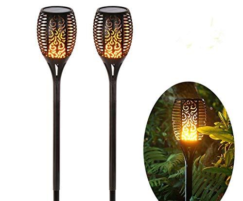 WIVION 2 Stück Solarleuchte Garten,Garten-Fackeln Solar Gartenleuchte, 96 LED Bis Dawn Automatische EIN/Aus(Licht Sensor), Spotlight Gartenleuchte Wasserdicht IP65