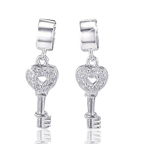 MATERIA 925 Silber Dangle Beads Zirkonia Element - Charms Schlüssel Anhänger für Beads Armband #526