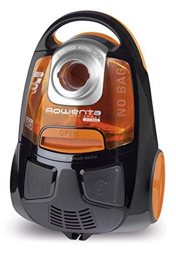 Rowenta ro2544wa city space cyclonic, aspirapolvere a traino senza sacco, compatto, ottimo per il tuo parquet, capienza 1.2 l, 750 w, 77 decibel, arancione/nero