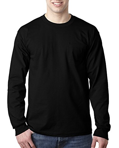 Adult Adult Long-Sleeve Tee with Pocket BLACK M - Adult Heavyweight Long Sleeve T-shirt