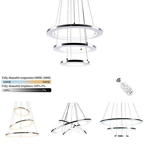 ZMH Moderne LED Pendelleuchte esstisch 45W Led 3-Ring led dimmbar Fernbedienung Hängeleuchte Wohnzimmer Deckenleuchte Schlafzimmer Höhenverstehbar Hängelampe Kronleuchter (20+30+40CM-3Ring) -