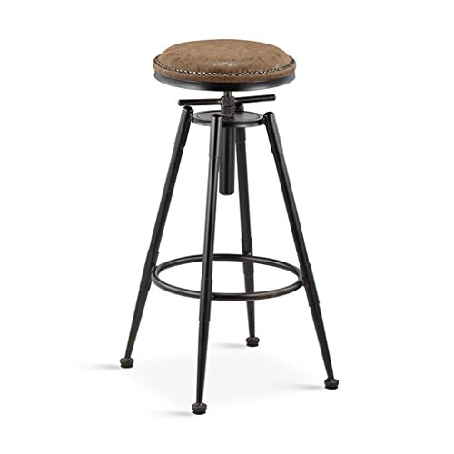 DZW Taburetes de cocina retro con patas de metal Taburetes de barra alta barra de asiento de de PU, giro de 360 grados Puede levantar y bajar y silla fija, altura 68-90cm / 98-120cm , 4