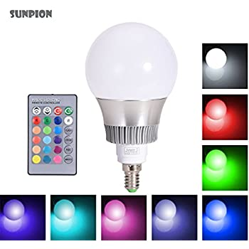 led rgb lampen sunpion e14 10w dimmbar gl hbirne 16 farben zur wahl inklusive fernbedienung. Black Bedroom Furniture Sets. Home Design Ideas