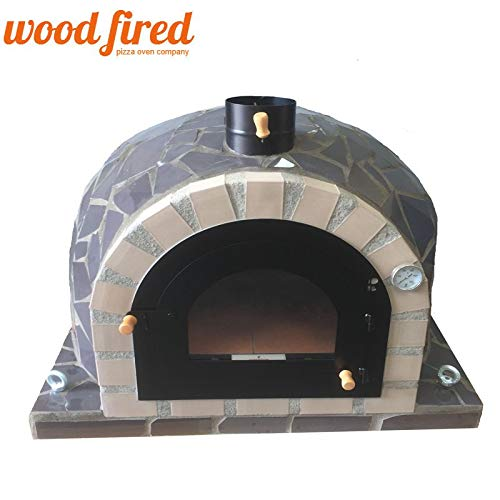 Pro-Deluxe Grey Ceramic Wood Fired Pizza Oven, 90cm