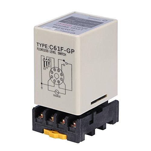 Akozon Flüssigkeit Floatless Niveauschalter Controller Flüssig Sensor Füllstandsschalter Wasserstand Steuerrelais Mit Basis C61F-GP AC220V 50/60 HZ -