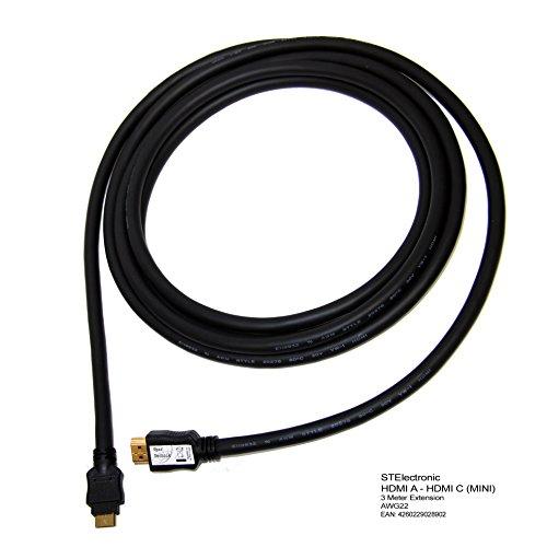 22 Lcd-720p Hdtv (3M extra langes HDMI - HDMI Mini, HDMI (A) auf HDMI (C) Kabel im besonders leistungsfähigen Industriestandard mit AWG22 Qualität 22 (Ø) 0,64mm Querschnitt für lange Kabelstrecken und minimalem Datenverlust: HDMI A - HDMI C Cable, schwarz black 3 Meter)