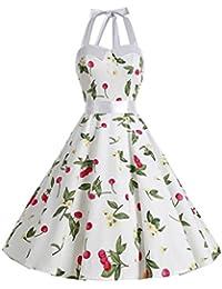 Dressystar Robe de bal Polka Vintage pin-up à 'Audrey Hepburn' 50's 60's Rockabilly Halter,dos nu, à pois
