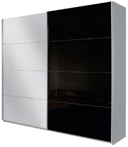 Rauch Schwebetürenschrank mit Spiegel 2-türig, Glaspaneele Schwarz, Korpus Alu gebürstet NB, BxHxT 181x210x62 cm