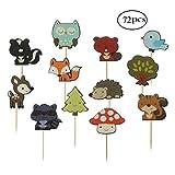 Mengger Cupcake Topper per Torte Animali Giungla Carino per Festa a Tema DIY Baby Shower di Compleanno della Decorazione 72 Pezzi,Cupcake Topper