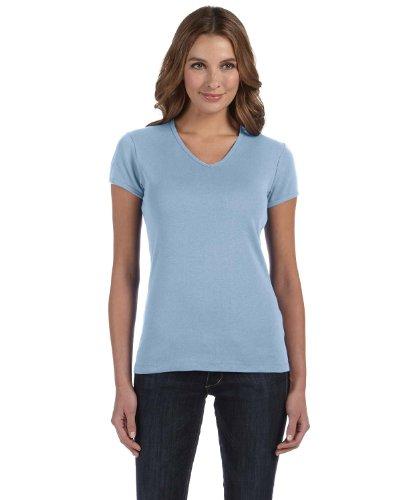 Bella Ladies 58 oz, 1x1 Baby Rib V-Neck T-Shirt 1005 -