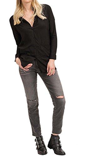 trueprodigy casuale donna camicia elegante sexy, abbigliamento urban moda collo coreana (manica lunga & slim fit classic), top blusa moda vestiti colore: nero 2073505-2999 Nero