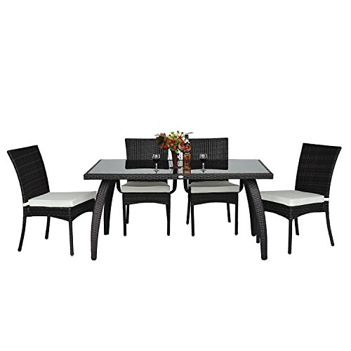 homcom rattan garden furniture aluminum dining set patio rectangular table with 6 outdoor chairs 7 pieces garden rattan furniture