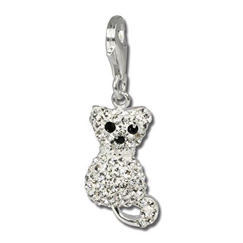 Con charm a forma di gatto bianco silberdream con swarovski ciondolo in argento 925 lucido per collane e braccialetti gsc209