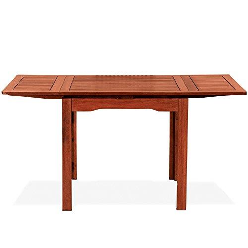 Tisch Quadratisch ausziehbar, in Holz natur 80x 80x 77Mod. Palma, Gartentisch aus Keruing A Handarbeit, Tisch-Hartholz Außenbereich, Tisch aus Holz Keruing ausziehbar.