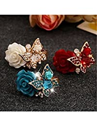ELECTROPRIME Women Fashion Cocktail Ring Rose Flower Butterfly Adjustable Party Ring Jewelry