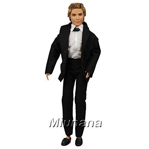 Miunana Set 3 Stück Hochzeits Formales Anzug Hemd Hose Kleid Kleidung Kleider für Barbie Puppen KEN Prinzessin (Hosen-anzug Stück 3 Drei Stück)