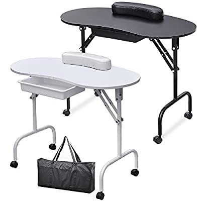 Popamazing Portable Folfable Collapsible Manicure Table Nail Technician Workstation Art Desk with Drawer + Carry Bag + Wrist Rest