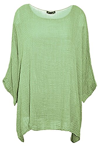 CELEB LOOK U13 Celebmodelook Womens Ladies Italian Cotton Plain Loose Fit Batwing Lagenlook Kimono Top Dress Insert Vest Plus Size