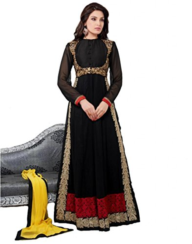 Dani Fashions Women Georgette Salwar Suit Set (Df401 _Black _Free Size)