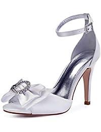 bf60ea2e529 Zxstz Zapatos de Mujer Satén Primavera Verano Boda Punto de tacón Alto  Fiesta Corte Vestido Zapatos