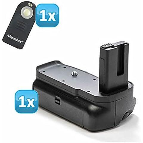 Empuñadura de batería Minadax para Nikon D3200 - agarre vertical de Batería con disparador de gran formato para 2 x EN-EL14 no-baterías + 1 x mando a distancia por
